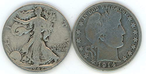 1892-1947 Silver Barber & Walking Liberty Half Dollar 2-Coin Set $1 Face Value