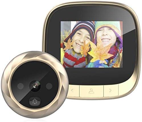 玄関の呼び鈴 高品質DD3 2.4インチTFTスクリーン0.3MPセキュリティデジタルドアビューア、サポート赤外線ナイトビジョン&90度ワイドアングル(ブラック) (Color : Gold)