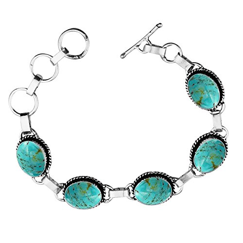 Turquoise Silver Overlay (11.50Gms,7.80 Ctw Genuine Turquoise 925 Sterling Silver Overlay Handmade Fashion Bracelet Jewelry)