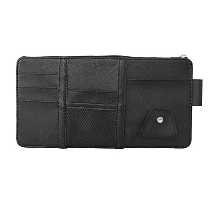 Juntful Car Sun Visor Card Sunglasses Holder Bag Organizer with Elastic Strap Zipper