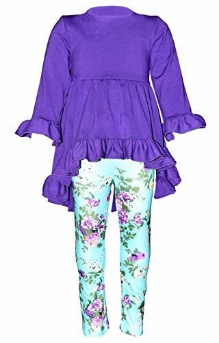 Unique Baby Girls Boutique 3 Piece Purple Floral Legging Set (7/XXL) by Unique Baby (Image #2)