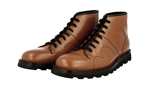 Prada Hommes 2tg096 B4l F092g Brossé Spazzolato Chaussures À Lacets En Cuir