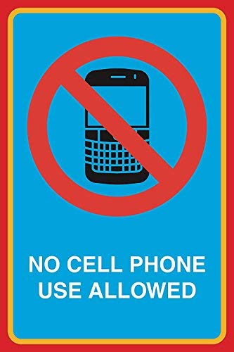Ditooms No Cell Phone Use Allowed Print Picture Notice Business Office School Work Sign Aluminum Metal