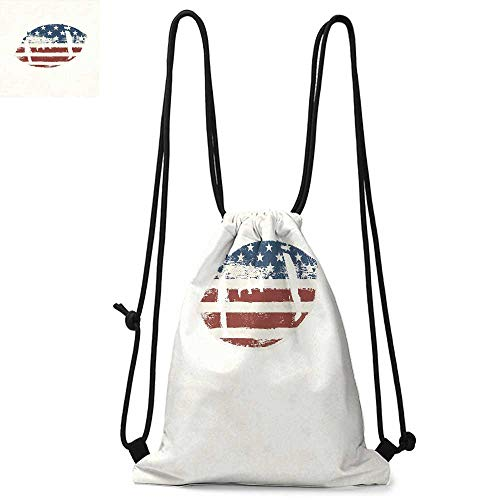 Sports Made of polyester fabric Grunge American Flag Themed Stitched Rugby Ball Vintage Design Football Theme Waterproof drawstring backpack W17.3 x L13.4 Inch Cream Blue Red (Barton Rugby)
