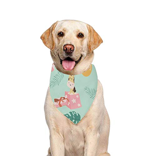 JTMOVING Dog Scarf Green Pastel Giraffe Smilingballoon Printing Dog Bandana Triangle Kerchief Bibs Accessories for Large Boy Girl Dogs Cats Pets Birthday Party -