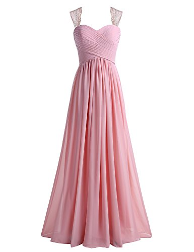 Tideclothes Chiffon Bridesmaid Dress Long Lace Prom Dress Evening Dress