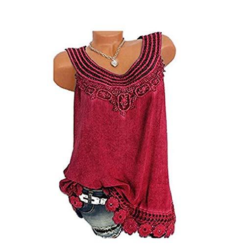 (Women O-Neck Sleeveless Pure Color Lace Plus Size Vest Tops Loose T-Shirt Blouse)