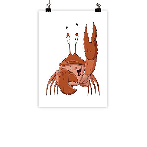 - BarronTextile Crabs Abstract PaintingFriendly Chela Arthropod Waving His Nipper Greeting with a Big Smile Funny Creature Natural artBrown Coral 24