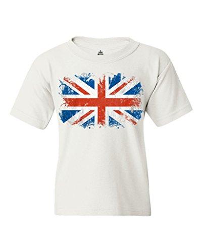 Shop4Ever® Union Jack British Flag Youth's T-Shirt United Kingdom Flag Shirts