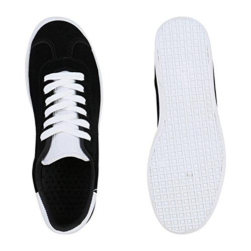 Stiefelparadies Modische Damen Kroko Sneakers Low Glitzer Schuhe Schnürer Flandell Schwarz Avion