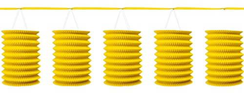 12' Paper Lanterns (Traditional Hanging Accordion Lanterns Party Decoration, Sunshine Yellow, Paper , 12', Pack of 8)
