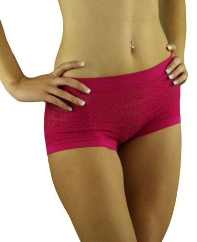 ToBeInStyle Women's Sheer Fishnet Boyshorts - One Size - Pink