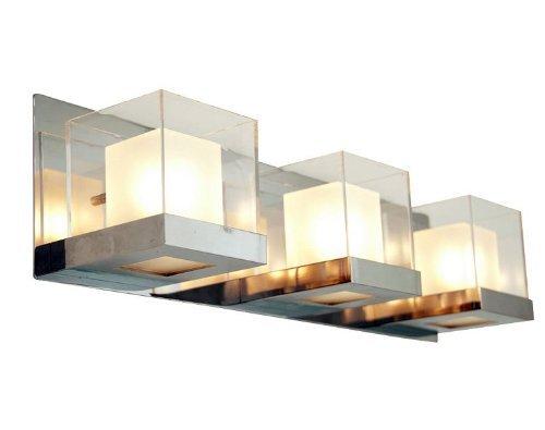 Opal Bathroom Shade - DVI Lighting DVP3943CH-OP Bathroom Vanity with Opal Glass Shades, Chrome Finish by DVI