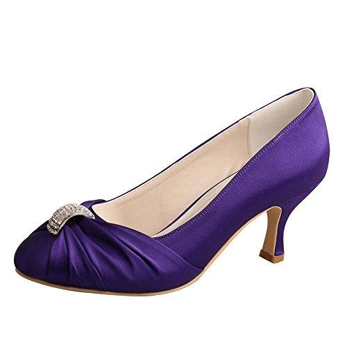 Wedopus MW643A Women's Pumps Satin Rhinestones Closed Toe Mid Heel Wedding Party Dress Groom Shoes Purple 7mCCA