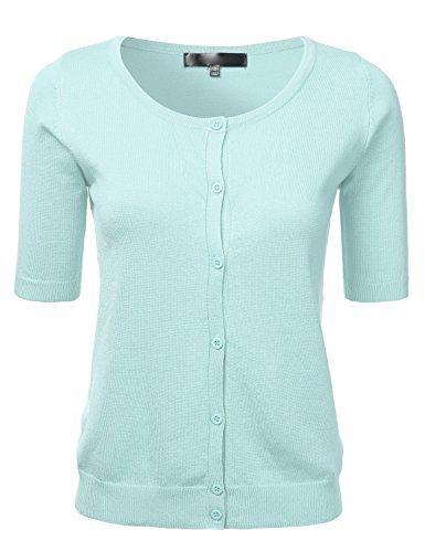 Womens Button Down Fitted Short Sleeve Fine Knit Top Cardigan Sweater Iceblue S