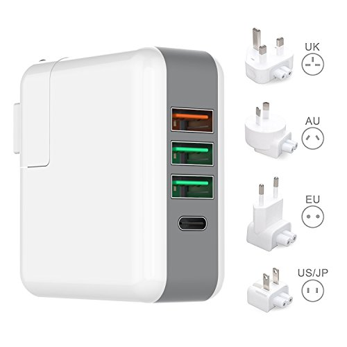 Quick Travel Wall Charger 3.0 USB Plug International Adapter Kit with Type C Smart Converter Plugs for Apple MacBook iPhone iPad - City Outlet Ocean
