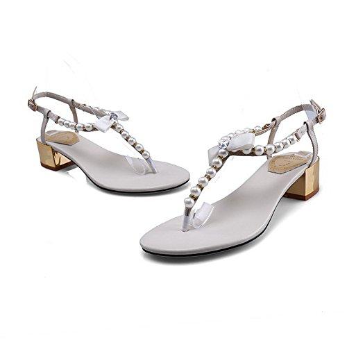Amoonyfashion Womens Kitten-häl Mjukt Material Fast Spänne Split Sandaletter Beige