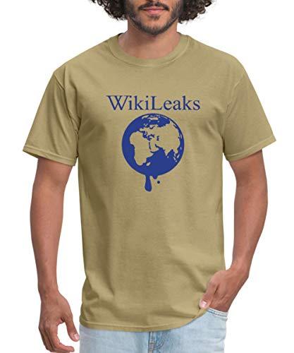 Spreadshirt WikiLeaks Dripping Globe Men's T-Shirt, M, Khaki