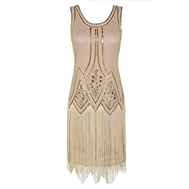 PrettyGuide Women's 1920s Vintage Beaded Fringed Inspired Flapper Charleston Dress