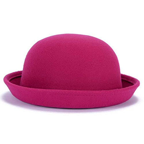 (Lujuny Classic Wool Round Bowler Hats - Trendy Derby Fedora Bucket Caps with Roll-up Brim for Youth Girl Petite Women (Rose Red))