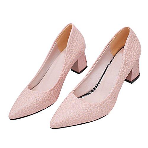 Chéri Temps Femmes Snakeskin Bloc Talon Haut Pompes Chaussures Rose