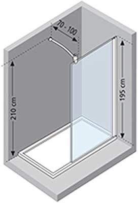Novoalugas lunes - Mampara -h 110x195 templado transparente silver: Amazon.es: Bricolaje y herramientas