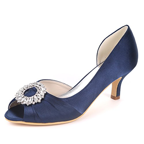 UK4 Y1195 Wedding Deepblue Heels Party Mid Rhinestones Shoes Flower Mujeres Sandals 08B Ager Court Open Bombas Toe Satin EU37 T7qwa5zq