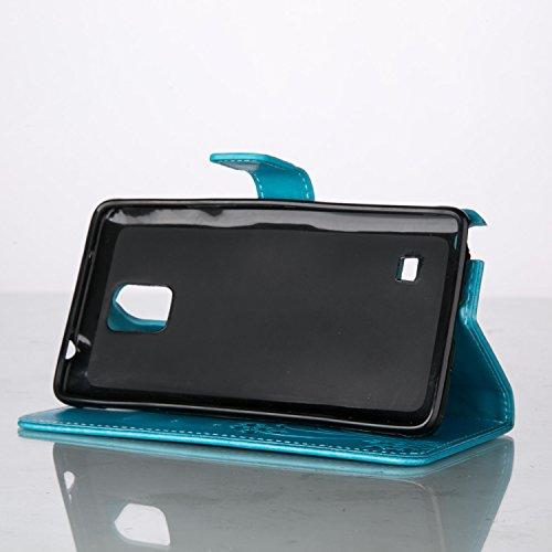 Funda Samsung Galaxy Note 4 OuDu Carcasa de Billetera Funda PU Cuero Carcasa Suave Protectora con Correas de Teléfono Funda Arbol Flip Wallet Case Cover Bumper Carcasa Flexible Ligero Ultra Delgado Ca Azul