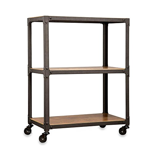 Loft Living 3-Tier Sturdy Antique Wood Finish & Metal Frame Rolling Cart, 30-in High