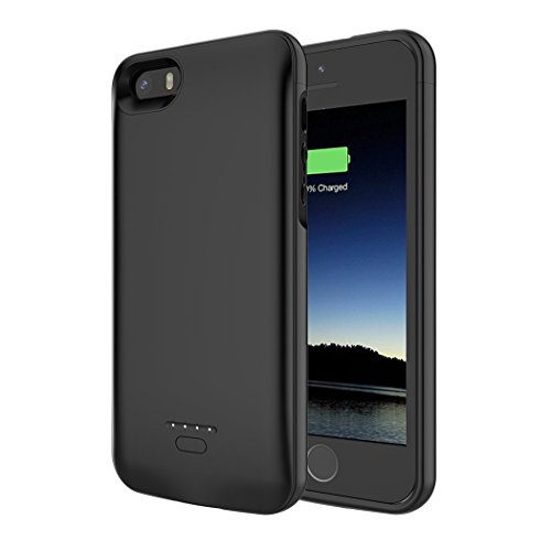 iPhone 5S/5/SE Battery Case, AUYOO iPhone 5 Charger Case 4000mAh Extended Battery Charger Case Backup Protective Charger Cover iPhone SE/5/5S Portable Power Charging Case-Black [Not fit 5C Model]