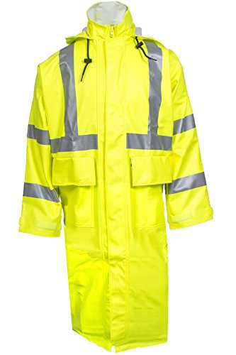 National Safety Apparel R31RL06XL Arc H2O FR Trench Coat, Class 3, X-Large, Fluorescent Yellow by National Safety Apparel Inc