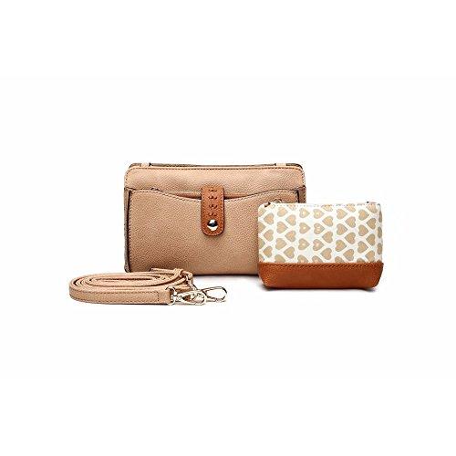 Clutch Purses for Women Purse Organizer Wallet | 3-in-1 Crossbody Handbag Set by Mia K. Farrow (Apricot)