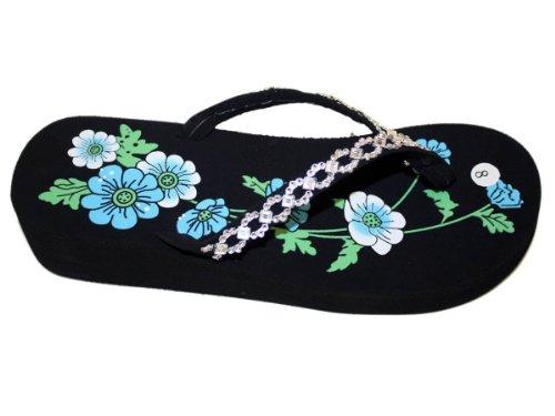 ... Kvinner Flate Stranden Flip Flops Blomster Print Dekorert Stropp Stil  Thongs- Wb029