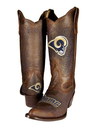 NFL St. Louis Rams Women's Flyer Pull Up Western Boot, Brown, 10 by Old Pro Leathers