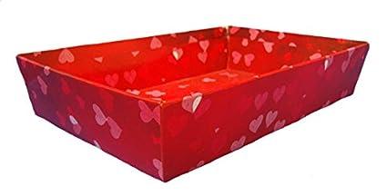 10 x bandejas de cartón regalo cesta – rojo de San Valentín aniversario corazones, cartón