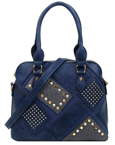 Girly Para Bolso Mujer De Asas Material Sintético Azul Handbags rq6Cvwr
