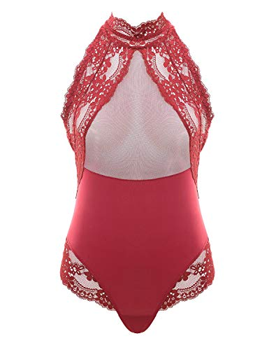 Garmol Women Lingerie Lace Teddy One Piece Halter Sheer Mesh Bodysuit Babydoll (X-Large, - Halter Sheer Teddies