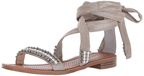 Nine West Flat Sandals - Nine West Women's XOANNA Flat Sandal, Silver Synthetic, 6.5 M US