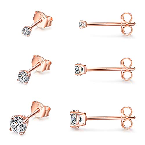 Sterling Silver Stud Earrings for Women Girls- 3 Pairs Tiny Ball Stud Earrings Round CZ Cubic Zirconia Earrings Set Cartilage Small Tragus Earrings(2mm,3mm,4mm) (CZ earrings(2mm,3mm,4mm)- Rose Gold)