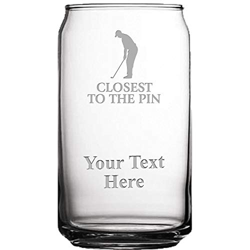 Custom Golfer Beer Can Glass, 19 1/2 oz Personalized Closest To The Pin Golf Beer Glass Gift ()