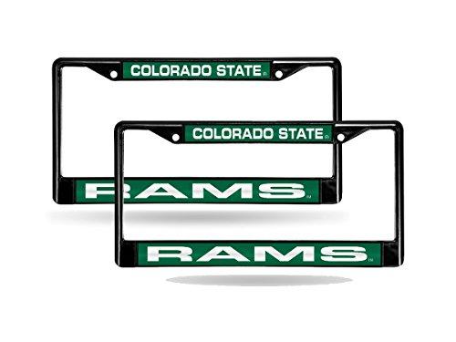 Colorado State Rams NCAA Black Metal (2) Laser License Plate Frame Set by Rico