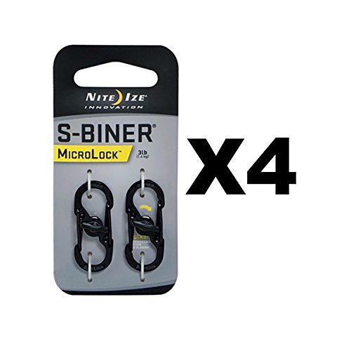 Nite Ize S-Biner MicroLock Black Locking Biners Keychain Pet Tags (4-Pack of 2) by Nite Ize