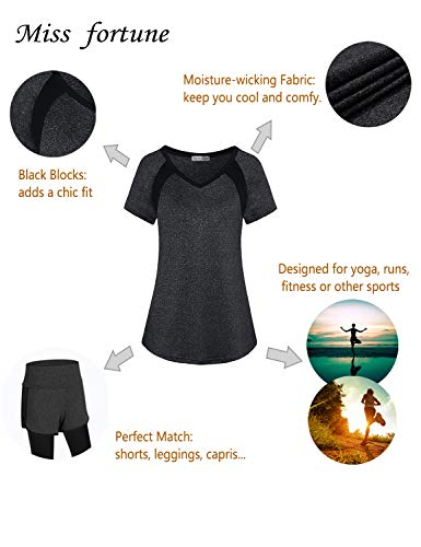Miss Fortune Tennis Tanks for Women, Moisture Wicking Active Wear Summer Exercise Tshirts Sleeveless Workout Tunic Tops for Leggings for Women Dark Grey XL by Miss Fortune (Image #2)