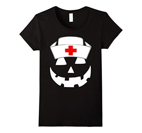 Womens Official Halloween Pumpkin Nurse Funny T-Shirt XL Black