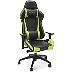 RESPAWN-105 Racing Style Gaming Chair - Reclining Ergonomic Leather Chair, Office or Gaming Chair (RSP-105-GRN)