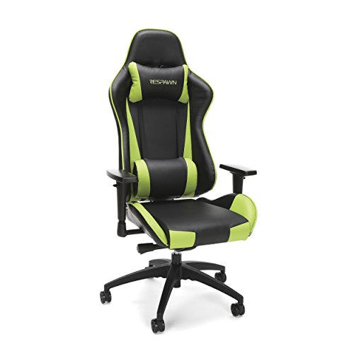 RESPAWN-105 Racing Style Gaming Chair – Reclining Ergonomic Leather Chair, Office or Gaming Chair RSP-105-GRN