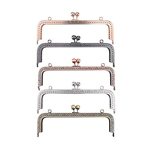 HOUSWEETY 5Pcs Metal Purse Frame Coin Bag Kiss Clasp Lock DIY Craft Assorted 5 Color/Set Dia. 20.5cm