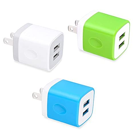 USB Wall Charger, Charging Plug HopePow 3-Pack USB 5V/2.1A Home Travel Wall Charger Adapter Plug for iPhone 7, 7 plus, 6, 6s, 5, 5S, iPad, iPod Samsung S5 S6 S7 Edge, Google Pixel, HTC, LG, (Wall Adaptor For Iphone 5)