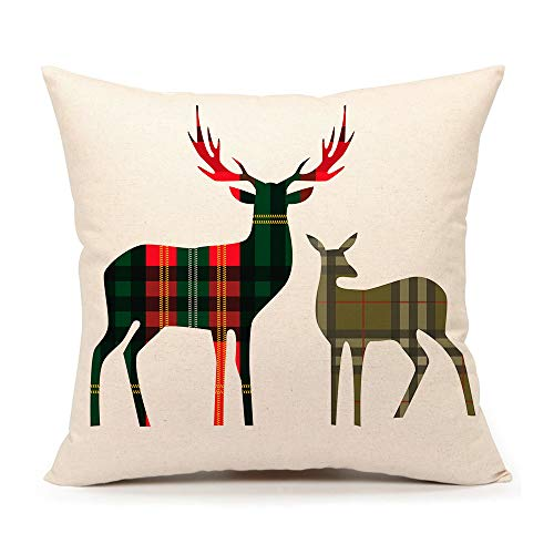 4TH Emotion Red Green Buffalo Plaids Christmas Deer Throw Pillow Cover Cushion Case for Sofa Couch 18 x 18 Inch Cotton Linen
