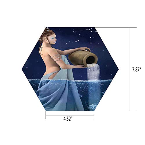 iPrint Hexagon Wall Sticker,Mural Decal,Astrology,Aquarius Lady with Pail in The Sea Water Signs Saturn Mystry at Night Stars Decorative,Blue Dark Blue,for Home Decor 4.52x7.87 10 Pcs/Set